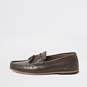 Dark brown leather embossed tassel loafers