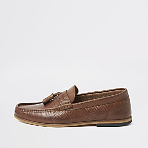 Brown leather embossed tassel loafers