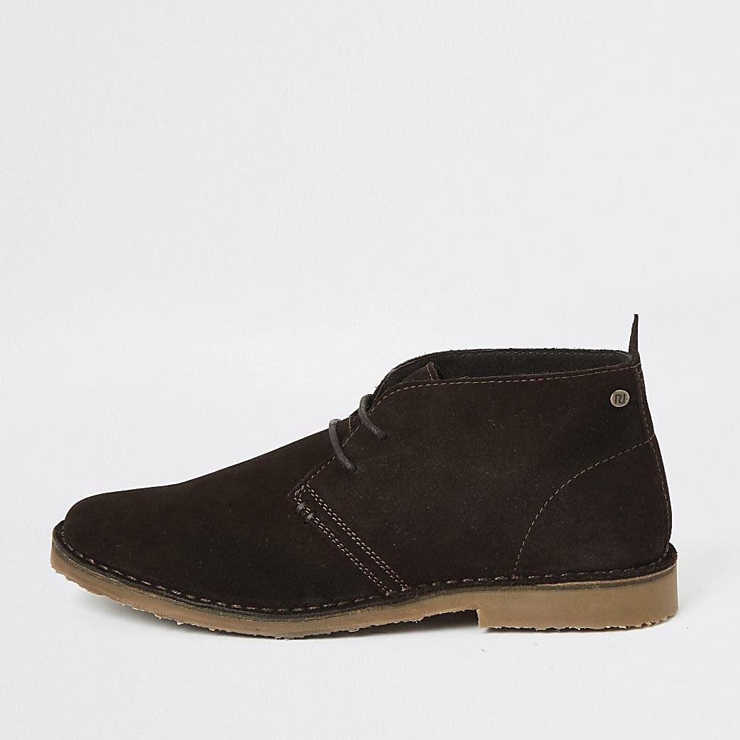 Dark brown suede lace-up desert boots