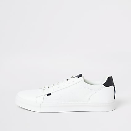 Maison London white lace-up trainers