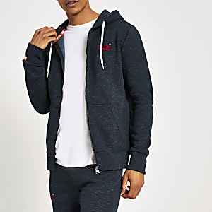Superdry- Marineblauwe hoodiemet rits van de Orange Label-reeks