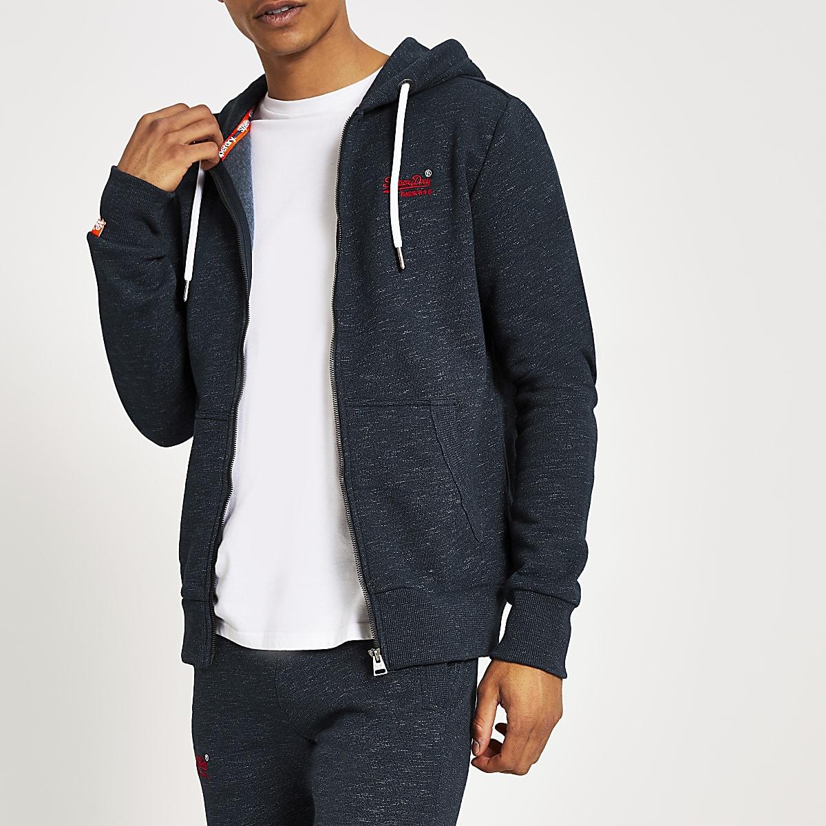 Superdry navy Orange Label zip through hoodie
