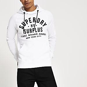 Superdry - Sweat à capuche blanc avec logo sur la poitrine