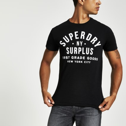 Superdry black logo chest print T-shirt