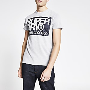 Superdry- Grijs T-shirt met korte mouwen en logo-print