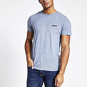 Superdry - Blauw geborduurd T-shirt met logo