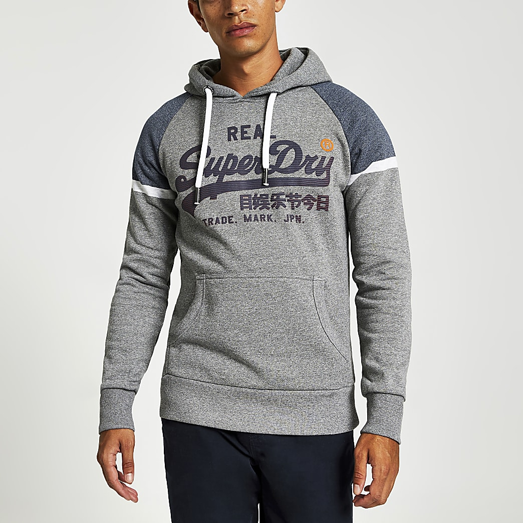 Superdry grey chest logo print hoodie