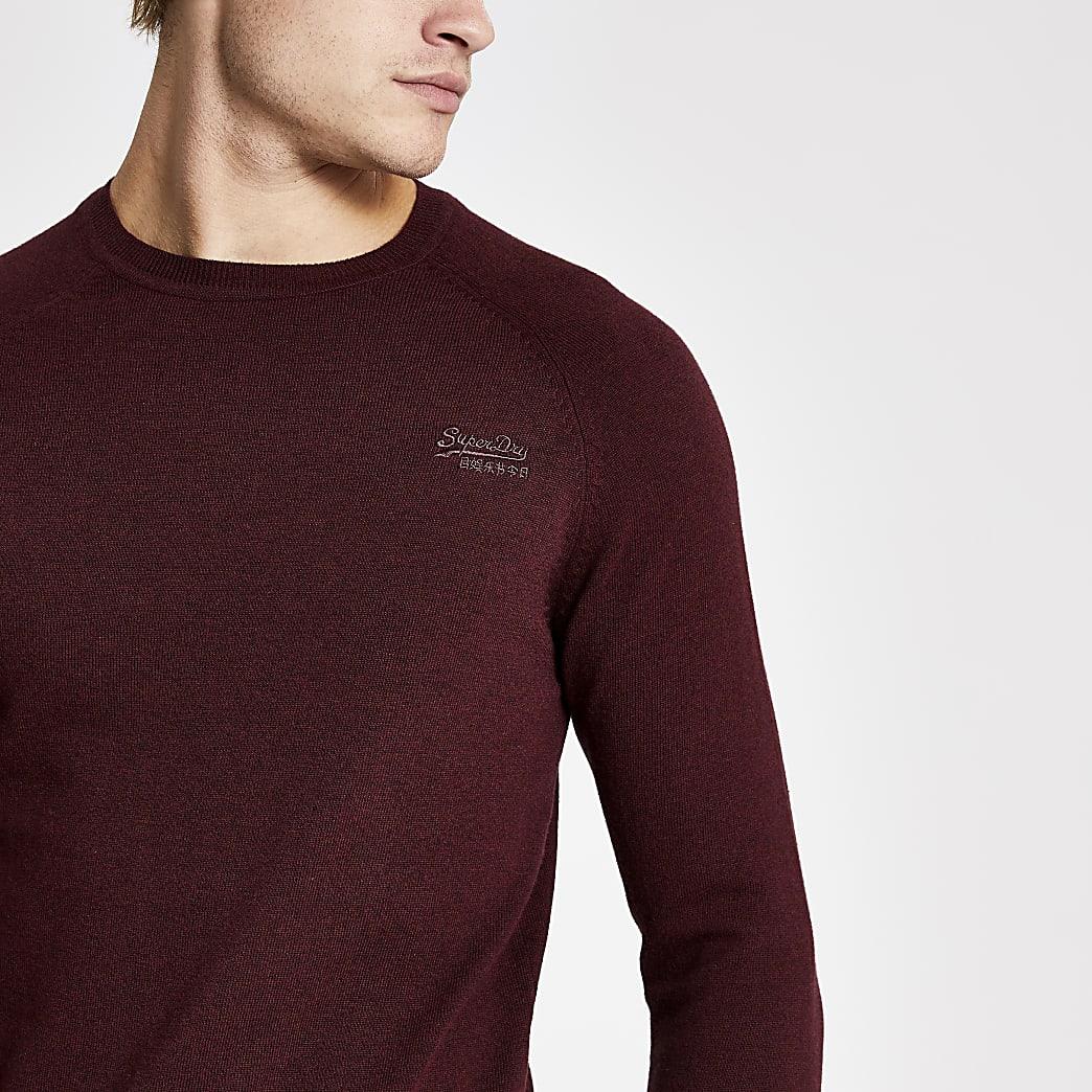 Superdry - Donkerrode gebreide pullover met lange mouwen
