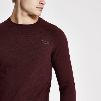 Superdry dark red long sleeve knitted jumper