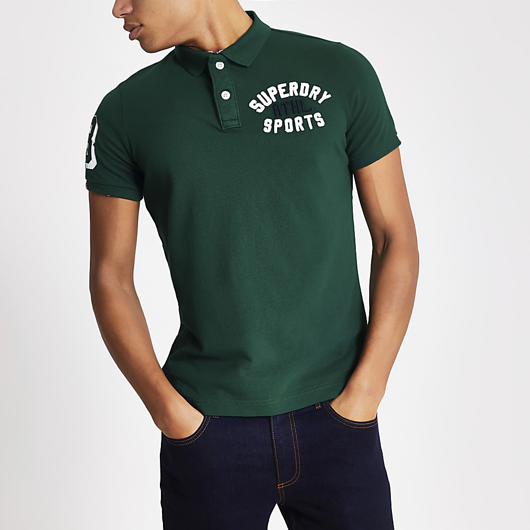 Superdry green short sleeve polo shirt