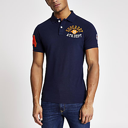 Superdry navy embroidered polo shirt