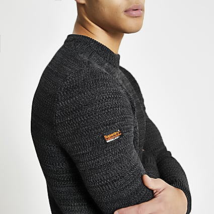 Superdry dark grey knit crew neck jumper