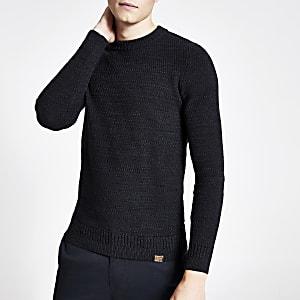 Superdry - Marineblauwe pullover met ronde hals