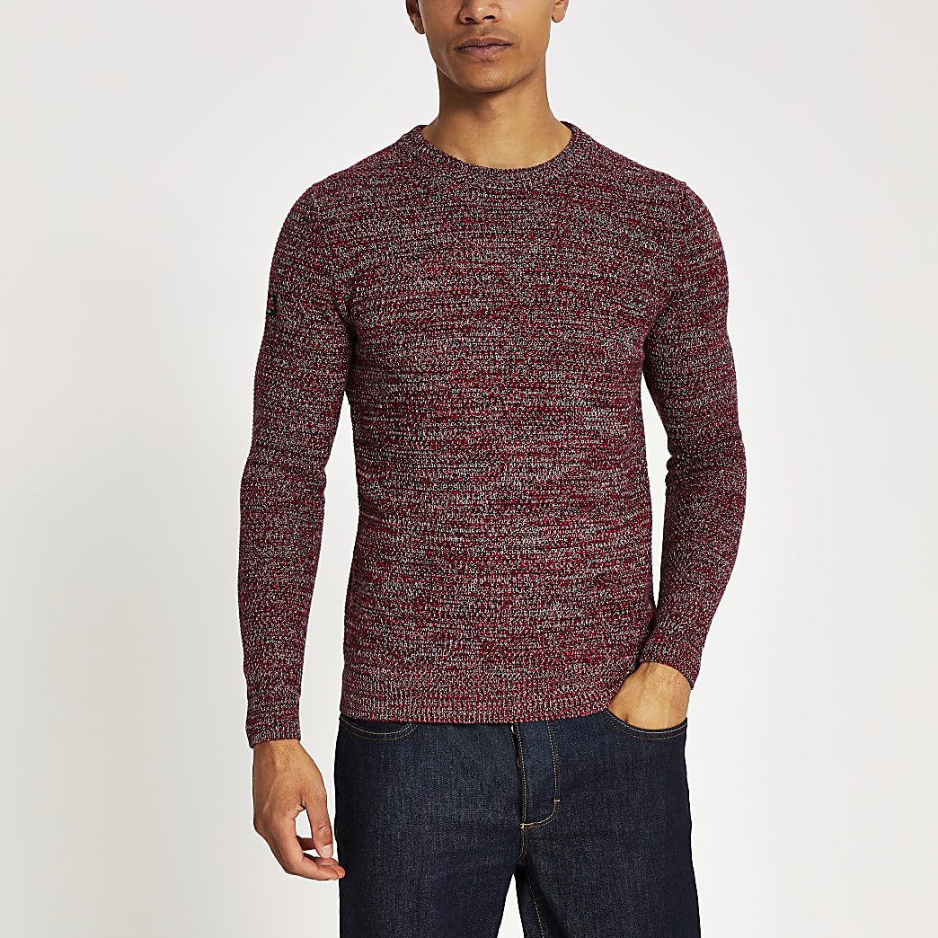 Superdry red knit crew neck jumper