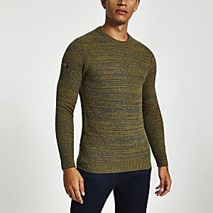 Superdry green knit crew neck jumper