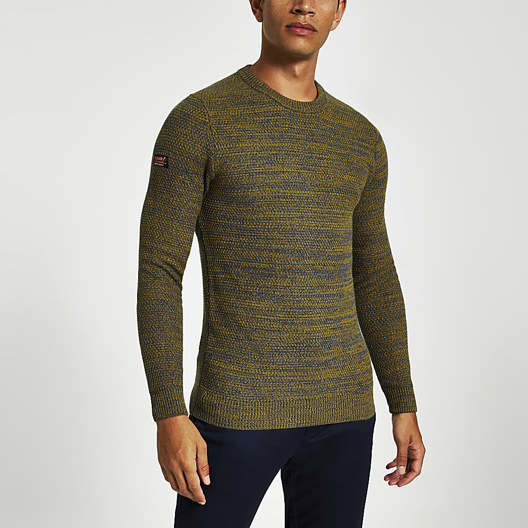 Superdry- Groene gebreide pullover met ronde hals