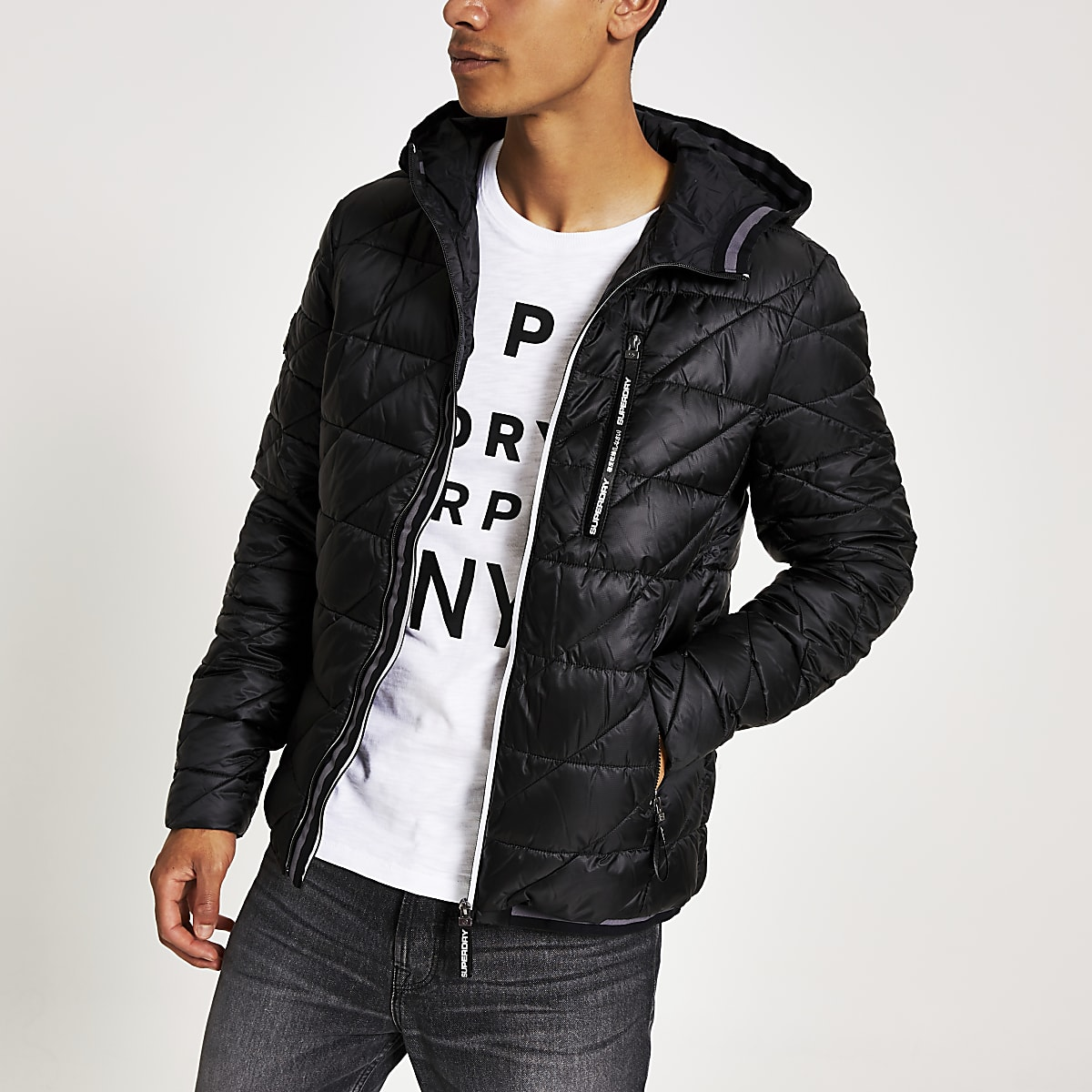 Superdry black quilted jacket
