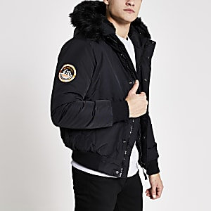Superdry – Schwarze Bomberjacke Everest