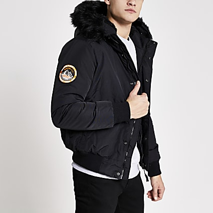 Superdry black Everest bomber jacket