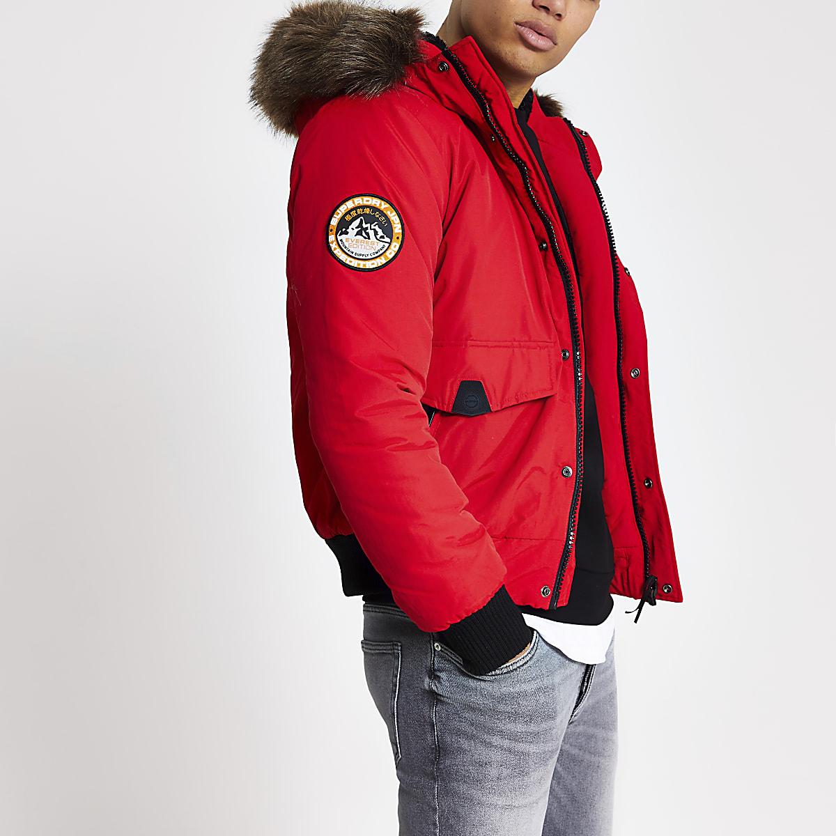 Superdry red Everest bomber jacket