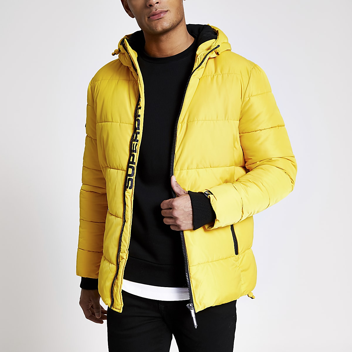 Superdry yellow puffer jacket