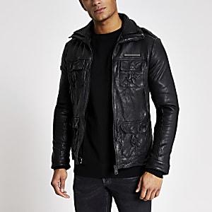 Superdry – Veste en cuir noire