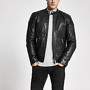 Superdry -Veste en cuir noire à col montant