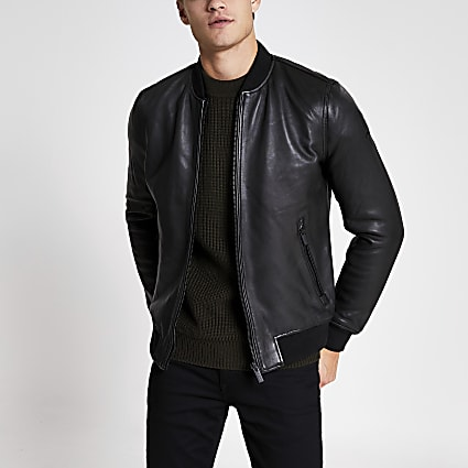 Superdry black leather bomber jacket