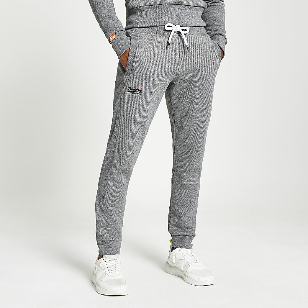 Superdry- Pantalons de jogging gris classiques Orange Label