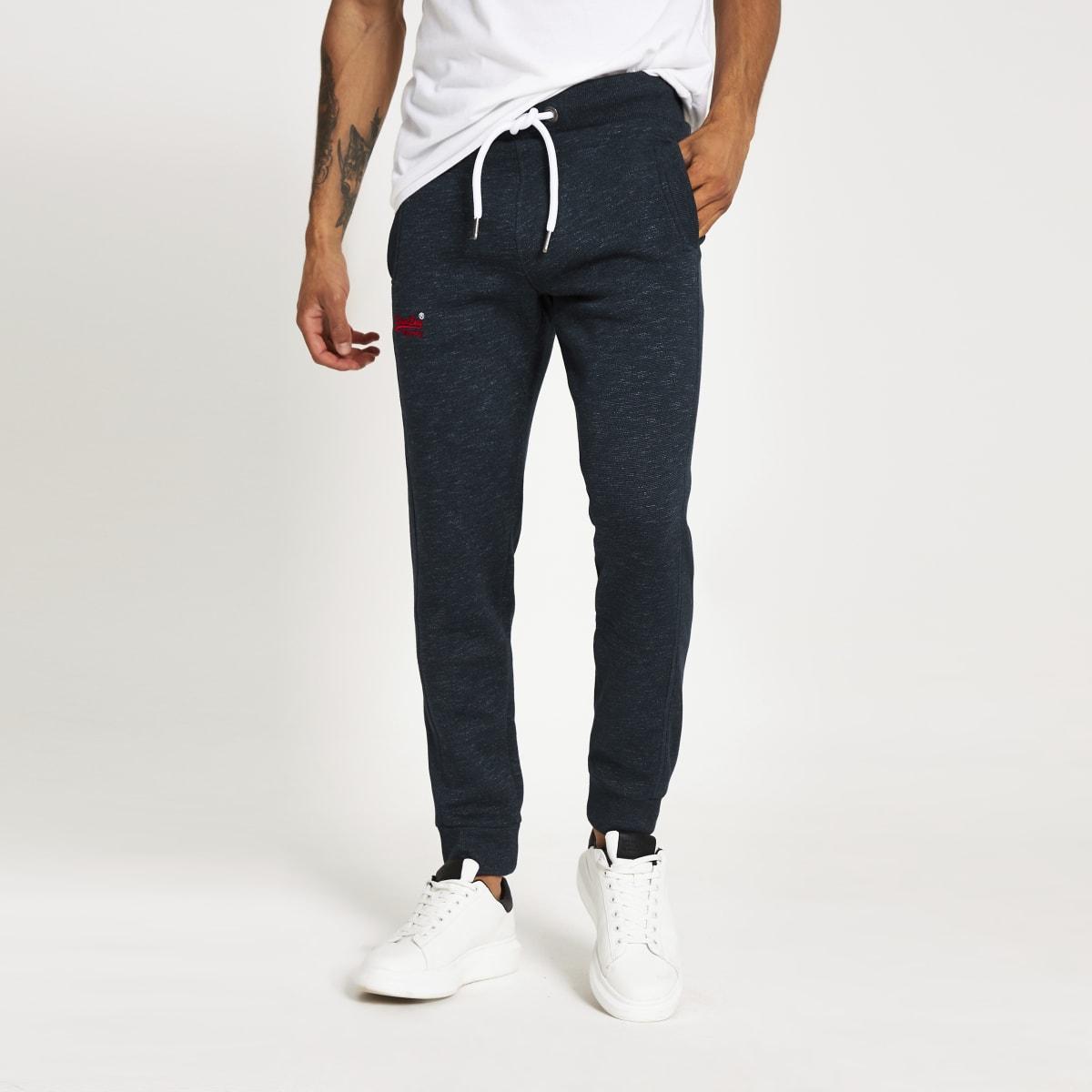 Superdry- Pantalons de jogging bleu marine Orange Label Classic