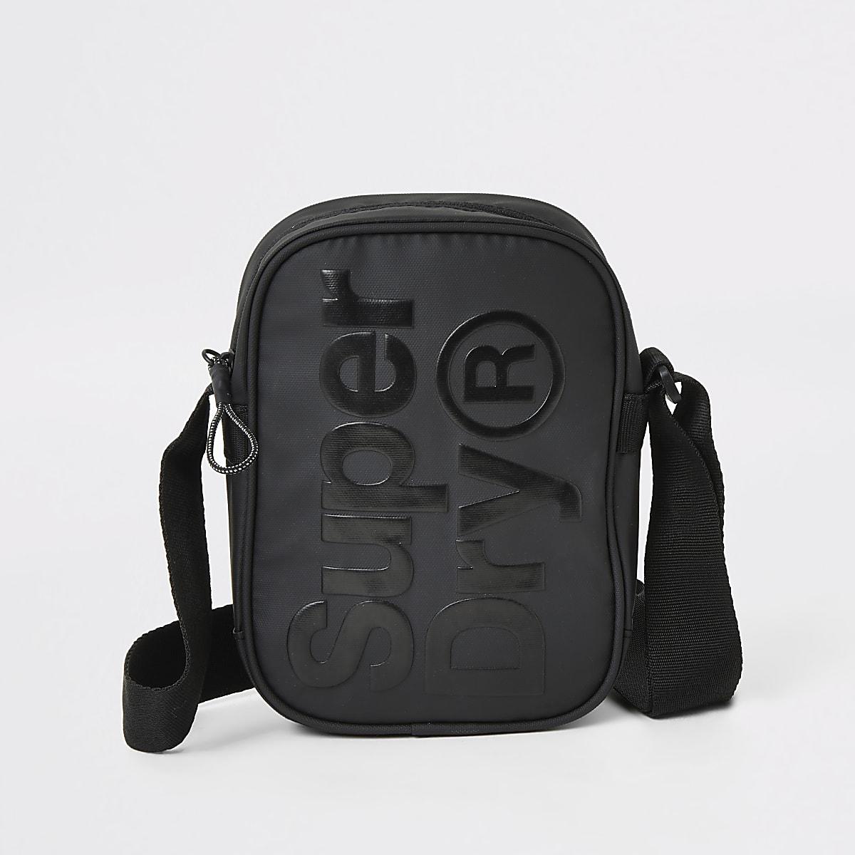 Superdry- Zwarte schoudertas met reliëf