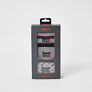 Superdry - Lot de3 chaussettes grises imprimé rouge