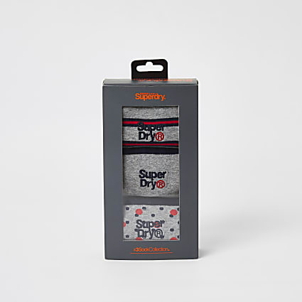 Superdry red print grey socks 3 pack