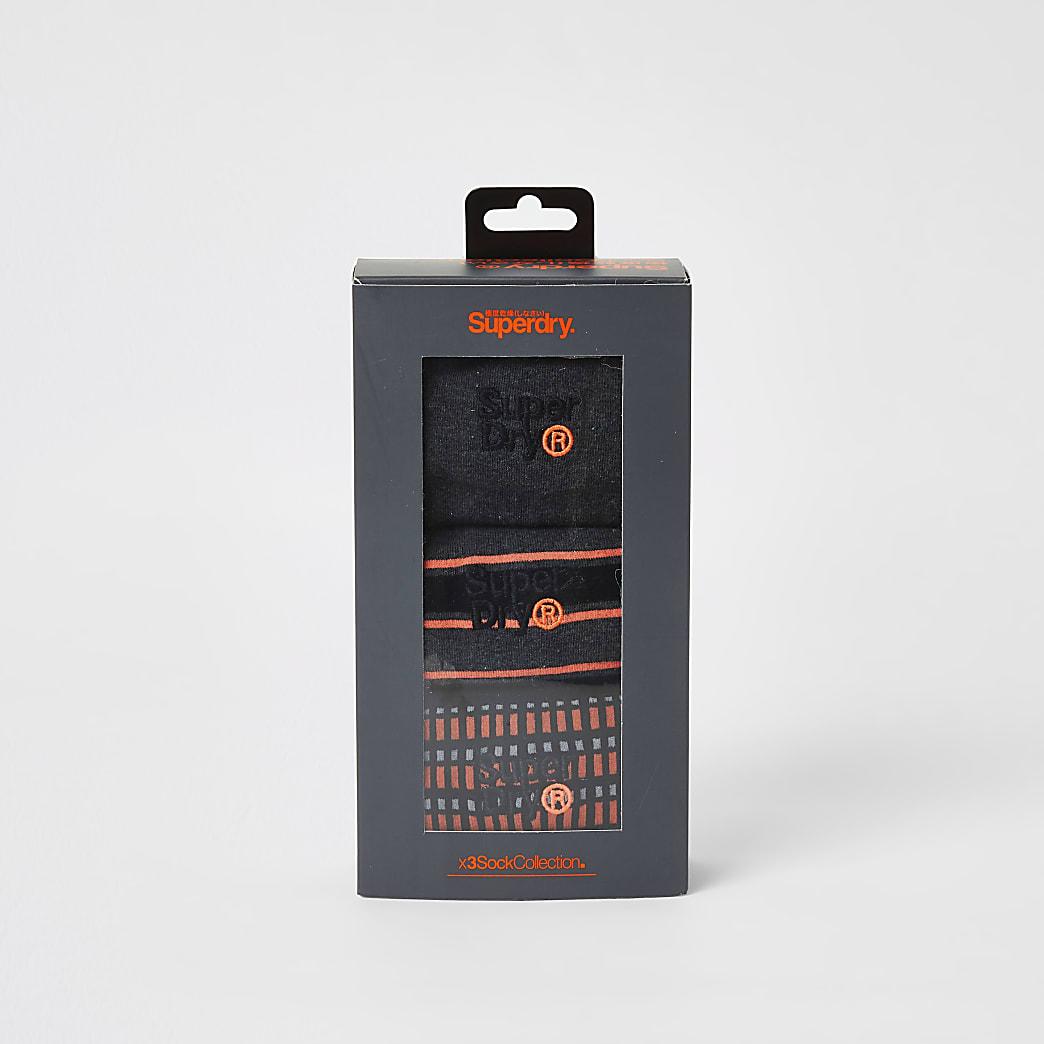 Superdry orange print black socks 3 pack