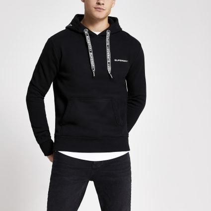 Superdry black logo hoodie