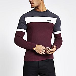 Superdry - Donkerrood T-shirt met kleurvlak