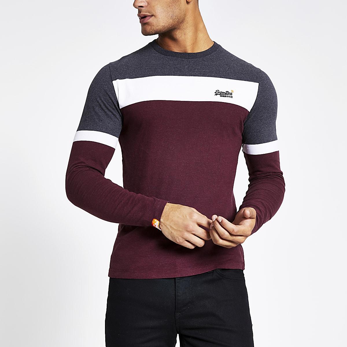 Superdry -T-shirt  rouge foncécolour block
