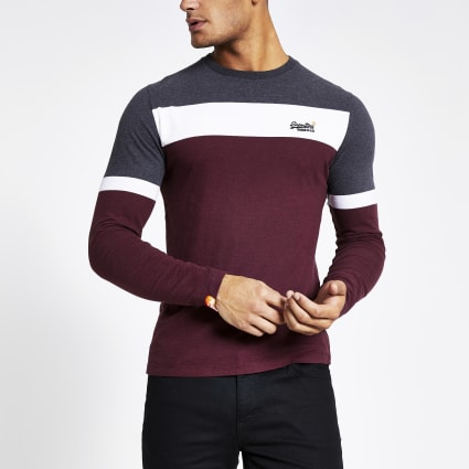 Superdry dark red colour block T-shirt