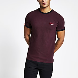 Superdry Orange Label – Dunkelrotes T-Shirt