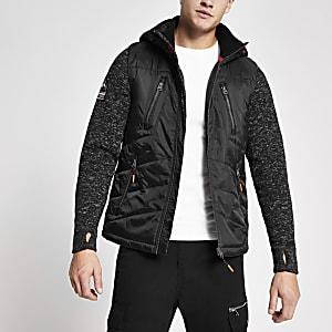 Superdry- Manteau noir à capuche avec manches en maille