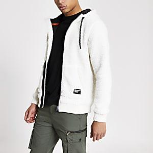 Superdry - Ecru hoodie met rits voor en borgkraag