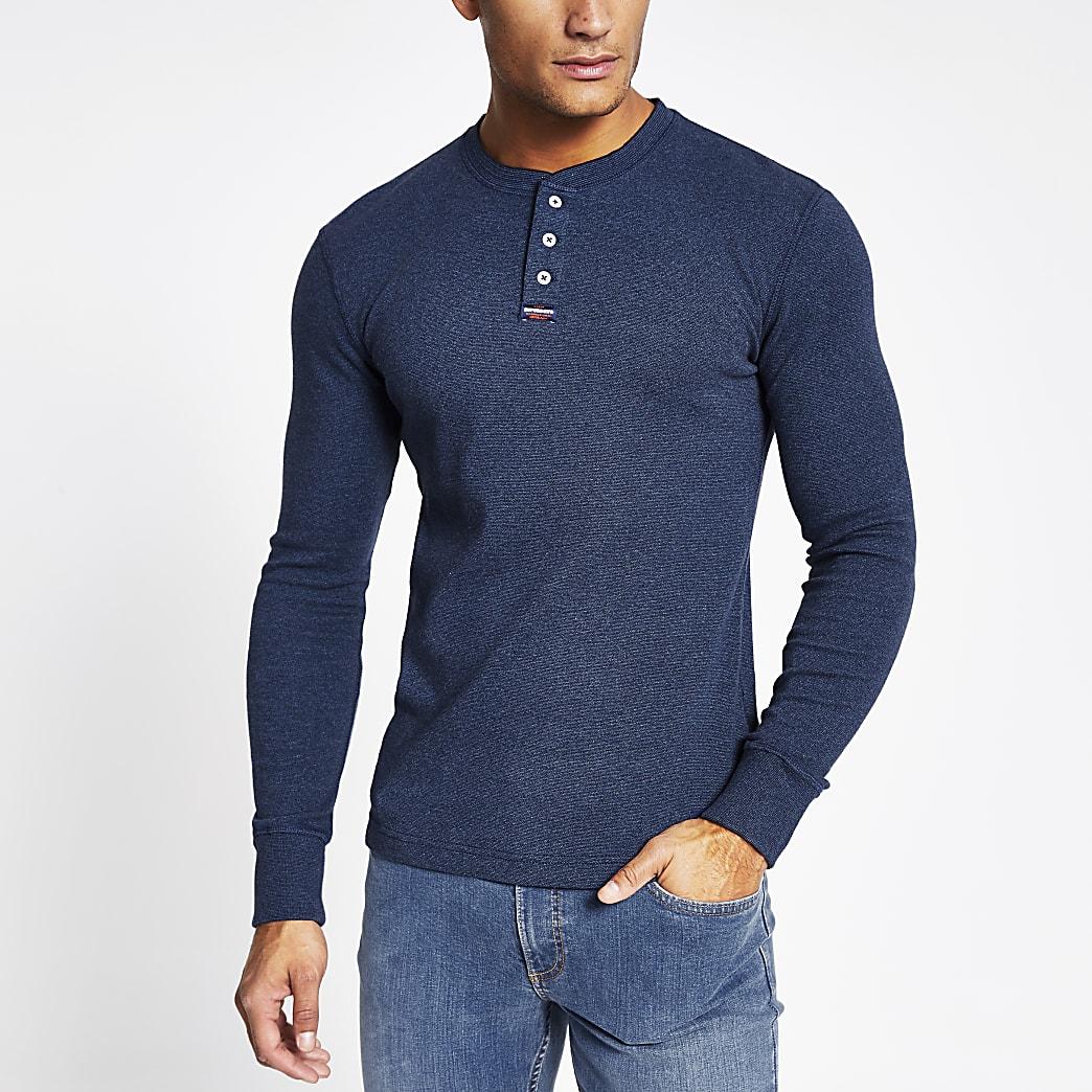 Superdry- Blauw kraagloos overhemd met lange mouwen
