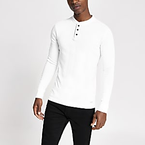 Superdry – Weißes T-Shirt mit Grandad-Kragen