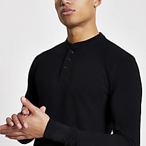 Superdry – Schwarzes T-Shirt mit Grandad-Kragen