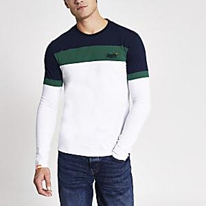 Superdry – Weißes T-Shirt mit Blockfarben