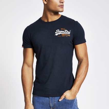 Superdry navy racer logo embroidered T-shirt