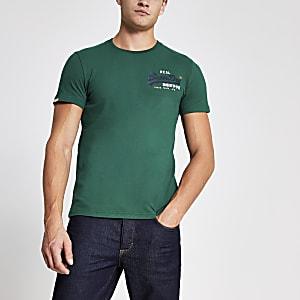 Superdry green logo print T-shirt