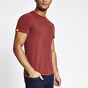 Superdry- Rood T-shirt met korte mouwen en logo op de borst