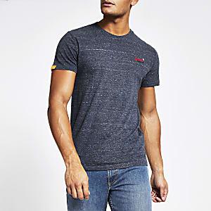 Superdry - T-shirt bleu marine à manches courtes et logo sur la poitrine