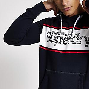 Superdry – Sweatà capuche de sport noir retro